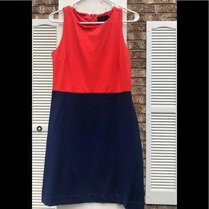 Cynthia Rowley coral and navy color-block dress.